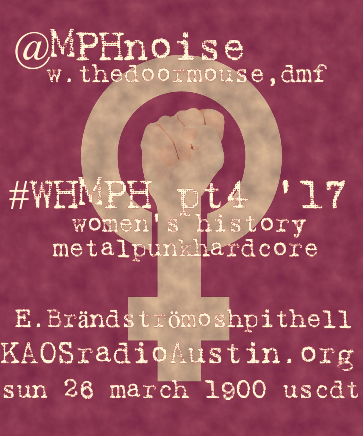 WHMPH vol.4 '17 edition of Mosh Pit Hell – E.Brändström edition of Women's History Month